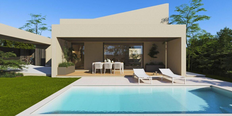 fachada y piscina villa aislada